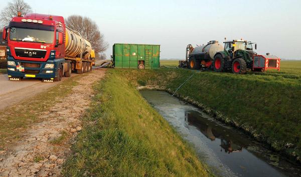Gülletransporter beim Umpumpen in den Feldrandcontainer, Foto (C): Eilert Voß