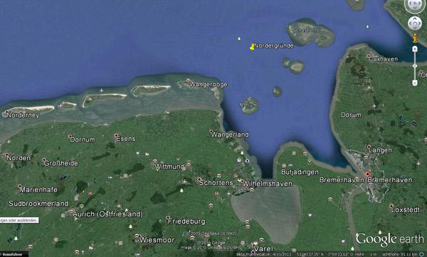 """Planungsgebiet des Winmdparks """"Nordergründe"""" im niedersächsischen Wattenmeer"""
