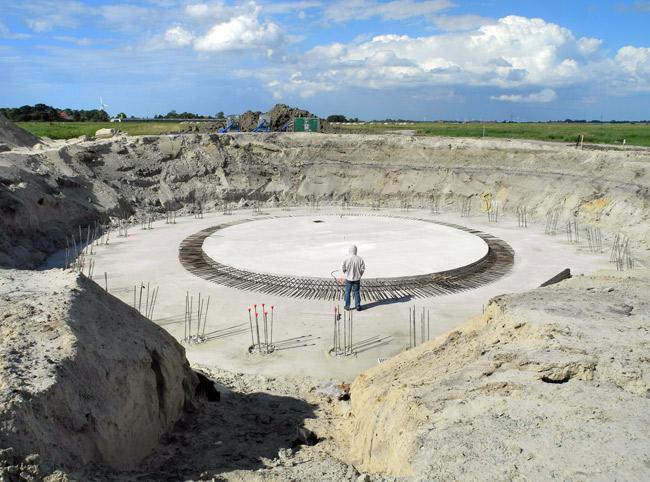 Fundamenbodenplatte, E-101, unfetiges Stahlbetonfundamnet, Stedesdorf/LK Wittmund/NDS
