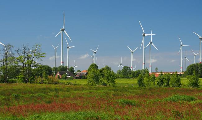 Windpark Westerholt/LK Wittmund mit dem Dorf Utarp. Hier ist Harmine Bents (SPD) Bürgermeisterin. Foto (C): Manfred Knake