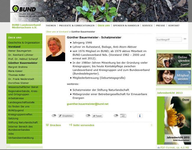 Screenshot, Bildzitat, BUND-LV Niedersachsen, http://www.bund-niedersachsen.de/ueber_uns/vorstand/guenther_bauermeister/, 15. August 2015