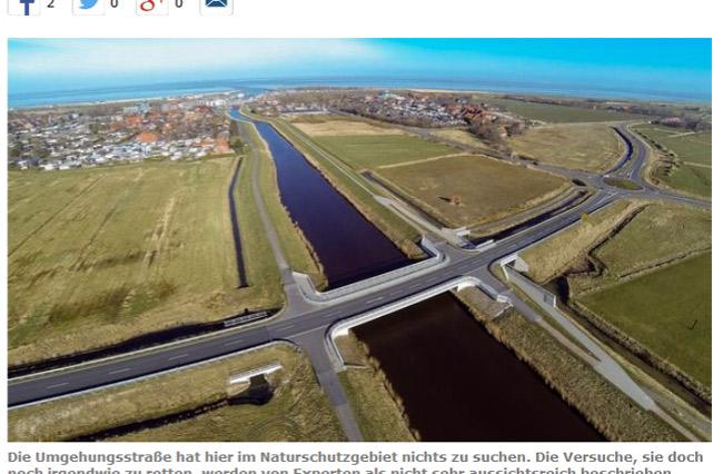 Screeshot-Bildzitat: Umgehungsstraße Bensersiel am falschen Ort, Weser-Kurier, 03. Juni 2015, Foto: Albers