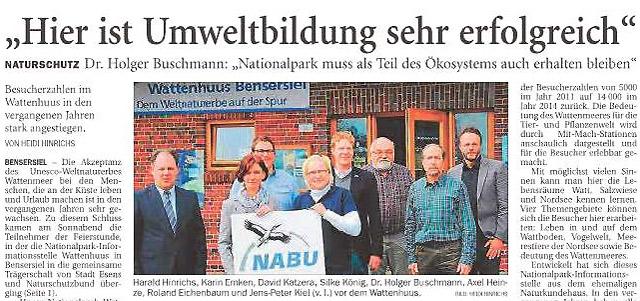 Bildzitat, Anzeiger für HArlingerland, Wittmund, S.4, 02. Mai 2016, Axel Heinze, NABU, 6 v.l.