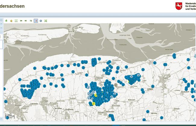 Screenshot: Energieatlas Niedersachsen, diese offizielle Karte des Landes Niedersachsen ist nicht vollständig, es sind noch mehrere Dutzend weitere WEA geplant
