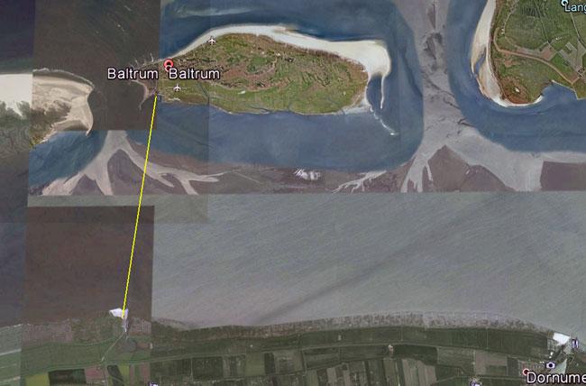 Eine Seilbahn von Neßmersiel nach Baltrum? Foto (C): google-earth