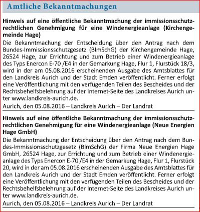 """aus dem """"Ostfriesischen Kurier"""", Norden/NDS, 05. Aug. 2016"""