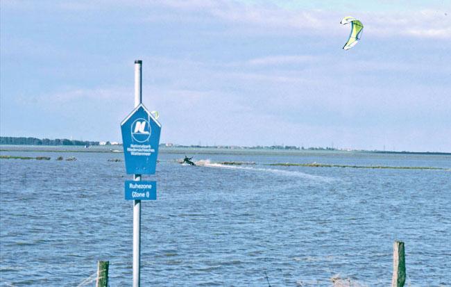 Kiesurfer verbotenerwesie im Dollart, Ruhezone des Nationalparks Niedersächsisches Wattenmeer, Foto (C): Eilert Voß/Wattenrat