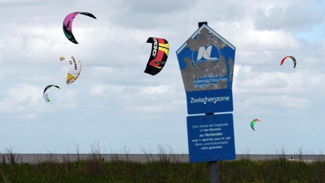 Kitespot Sahlenburg/Cuxhaven, Zwischenzone des Nationalparks Niedersächsisches Wattenmeer, Foto (C): Eilert Voß/Wattenrat Ostfriesland