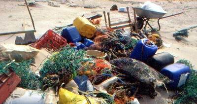 Angespülter Müll auf der Vogelinsel Memmert, Foto (C): Reiner Schopf/Wattenrat