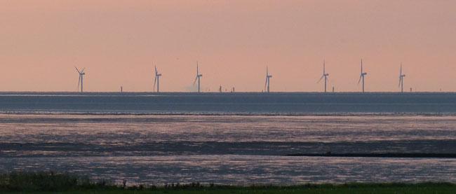 Windpark-Baustelle Nordergründe, Blick über das Watt des Nationalparks, Foto (C): Ingrid Marquardt/Wattenrat Ostfriesland