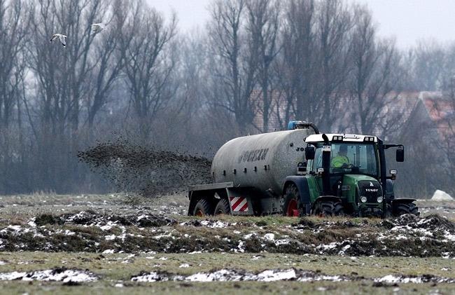 Verboten: Ausbringung von Gülle auf gefrorenem Boden, Ditzumer Hammrich/Ostfriesland, 2015 - Foto(C): Eilert Voß