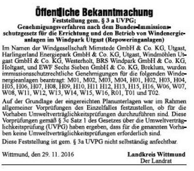 Anzeiger für Harlingerland, Wittmund, 29. Nov. 2016